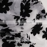 China wholesale textile fabric flocked upholstery floral fabric