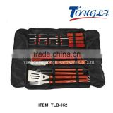 TLB-052 18PCS in carry bag stailess steel wooden handle BBQ Utensils Set
