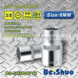 "BS-SR3806P12 Dr. 3/8"" Drive 12PT chrome vandium socket set Wheel Automobile Nut socket wrench"