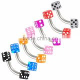 Acrylic Dice stainless steel eyebrow piercing jewelry eyebrow barbell