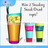 Factory Produce FDA BPA Free Snackeez Plastic 2 in 1 Kids Travel Snack Drink Cups With Straw