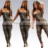 F20456A High quality jumpsuits for women sexy lepopard print strapless fancy suits plus size women clothing for fat ladies                                                                                                         Supplier's Choice