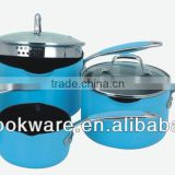 2015 New Products 7PCS German Quality 3.5mm Hard Anodized Aluminium Saucepan Set With Color High Temperature Paint For Wholesale