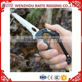 Outdoor Black multipul-purpose aluminum alloy snap hook, aluminum carabiner with screw ,with knife ,with bottle opener