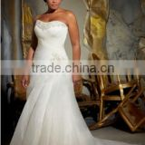 New Custom Made White/Ivory Organza Pleat Beading Mermaid Wedding Dress Plus Size Wedding Dress Bridal Gown