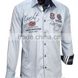 Stylish Wholesale long sleeve light blue satin pure cotton slim fit nautical shirts for men
