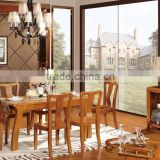 Wholesale New Style Brown Finished Wood Veneer Table Top Dining Room Furniture Sets Made in China. GZH-SM01