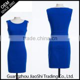 New fashion style O-neck sexy tight blue color bodycon midi pattern lady dress for party