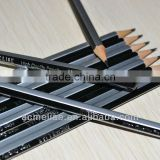 "7"" standard size hexagonal shape black and silver striped graphite HB pencil sharpened with dipped end"