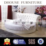 Italian Classic White PU Chesterfield Bed Headboard Design Round Bed A03