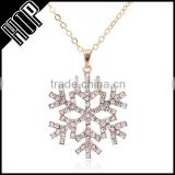Women fashion jewelry christmas gift alloy silver crystal snowflake bridal necklace