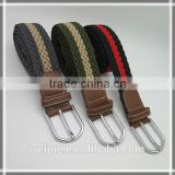 Fashion multi-color fabric braided double face elastic strench belt with Brown Leather