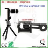 2015 best optical instrument 8x magnification telescope for smartphone cellphone holder and camera phone tripod