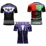 Guangzhou manufacturer men's avengers compression shirt Superheroe bat-man /spiderman/hulk T Shirt gym shirt men
