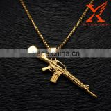 Hip Hop AK-47 Machine Gun 14k Gold Over Stainless Steel Mini Charm Pendant                                                                         Quality Choice