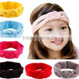 20cm 2016 new children and female baby hair braided cross hair band cotton elastic headband hand knot of peace