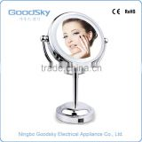 Double Sided Round Illuminated Table Top Magnifying LED Shaving Mirror with Light Battery