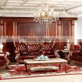 Luxurious Classic Solid Wood Hand Carved Leather Sofa, Hotel lobby Leather Sofa Set(MOQ=1 SET)