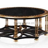 Living Room Furniture Black and Gold Centre Table, Luxury Round Black and Gold Coffee Table Furniture