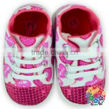 Hot Pink Color Best Selling Factory Price For Beautiful Baby Shoes Floral Pattern Baby Girl Shoes Baby First Step Shoes