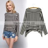 Women's Boat Neck Key Hole Back Long Sleeve Shirt Summer Casual Blouse