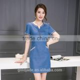 Lastest design oem spring blue v-neck short sleeve denim wash double shirt ladies dresses