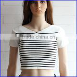most popular high quality fashion sublimation tshirt women's v neck striped t shirt