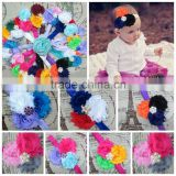 Boutique Tripple Shabby Chiffon Flower Toddler Head Bands In stock, Girl baby hair accessories