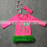 St.Patrick design 2016 girls Summer dress hot pink love long sleeves girls cute party dress with matching accessories