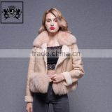 Latest Elegant Women Winter Sheepskin Coat With Big Fox Fur Collar Lamb Leather Jacket With Fur Lined