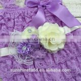baby headband Light Purple flower sash lavender Petti lace romper set