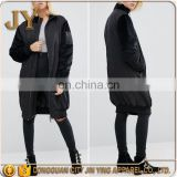 Hot Selling Longline Velvet Sleeves Black Coat for Girls with Ribbed Cuffs and Hem China Manufacturer