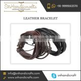 Purchase Cool Designed Leather Bracelet Wrapped with Strings for Men'