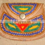 Ethnic women's handmade leather embroidered small bag,coin purse clutch