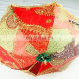 small size Heavy Handmade Embroidered Designer Cotton Umbrella Rajasthani Antique Work Garden