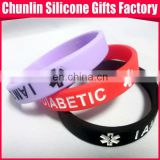 Diabetic silicone medical alert bracelet
