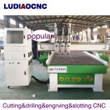 wood kitchen cabinet door making three process CNC router 1325 automatic tool changing CNC router with three spindle