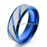 blue colour grooved   Tungsten carbide rings mens jewelry wedding rings