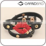 Exaggerated Fashion Red Mouth Lip Leather Gift Personality Charm Bracelet fo Lady