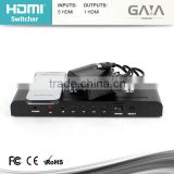 5 port HDMI switch 5x1 metal case hdmi switcher 5 input, 1 output 1080P with rf remote control