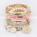 2016 Pearl Metal Coins Charms Jewelry Gold Bangles Bohe Bracelets Set