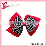 The most popular clips on hair ribbon bow zebra strip hairgrips (DW--0044)