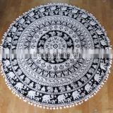 Indian Promotion Round Printed Beach Towel Elephant Roundie Throw Attached Firing, Tassles Wholesale