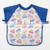 Japanese wholesale high quality new baby products useful short sleeve kids bib apron for meal with pocket waterproof EVA film