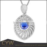 CYW jewelry accessories 2015 olive Gemstone 925 silver big pendant with AAA cz pendant designs for women