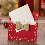 Lovely & charming red wedding invitations with colorful dots & golden glitter bow
