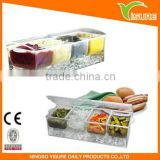 Condiments On Ice Container Chilled Ice Tray Plastic Square Condiments Acrylic Kitchen Condiments Container