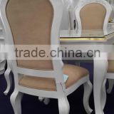 luxury 2016 wood dining/coffee chair florish design, amber mother of pearl, cushion seat, background white matt