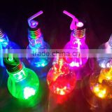 500ml Battery Powered Night Light Bulb Glass Juice Bottle With Gold Lid