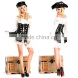 Classic Pirate Costumes Black PU Leather White Lace Pirate Dress Role Play Party Halloween Costumes for Women